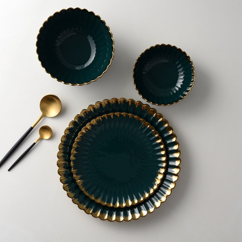 Gold Rim Green Dinnerware Set - The Home Empire