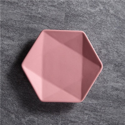 Solid Hexagon Ceramic Plate - The Home Empire