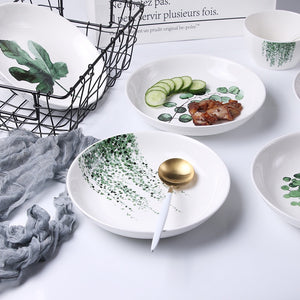Plant Porcelain Dinner Plate Set - The Home Empire