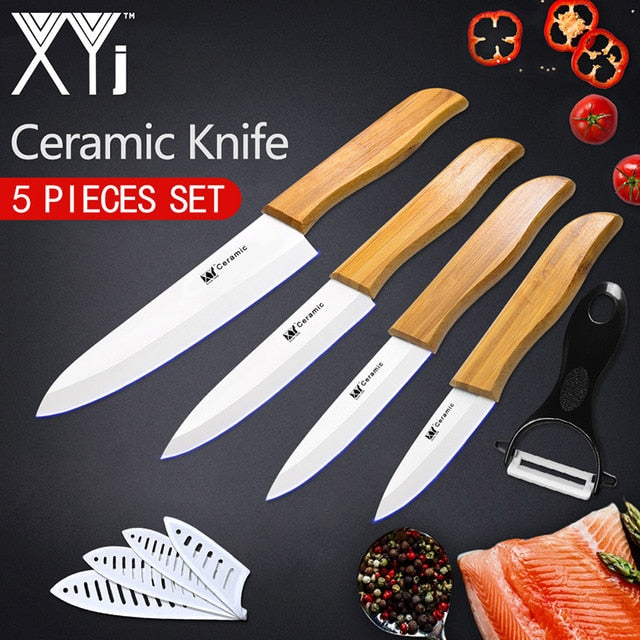 Ceramic Knife Set With Bamboo Handle - The Home Empire