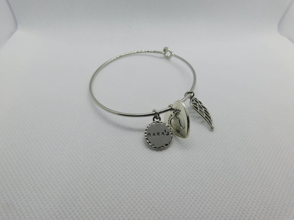 Classic Silver Angel Wing Bangle w/ Baby Footprints