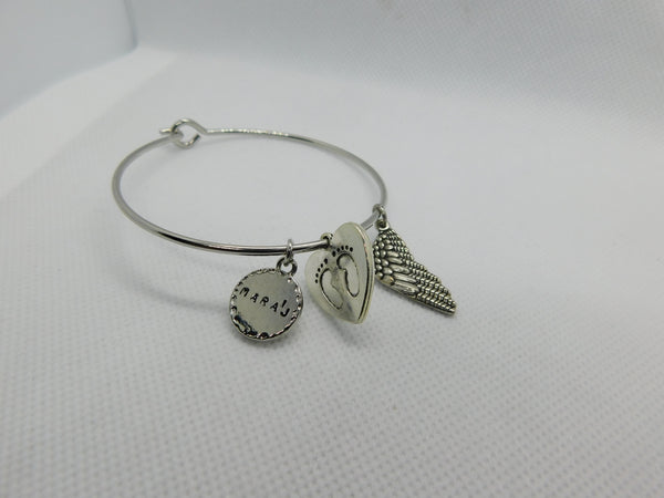 Elegant Silver Angel Wing  Bangle w/ Baby Footprints