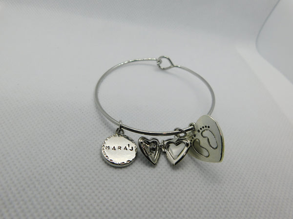 Silver Open Heart Locket Bangle w/ Baby Footprints