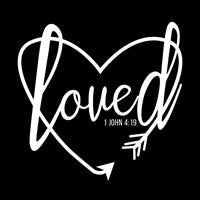 Loved christian heat transfer decal