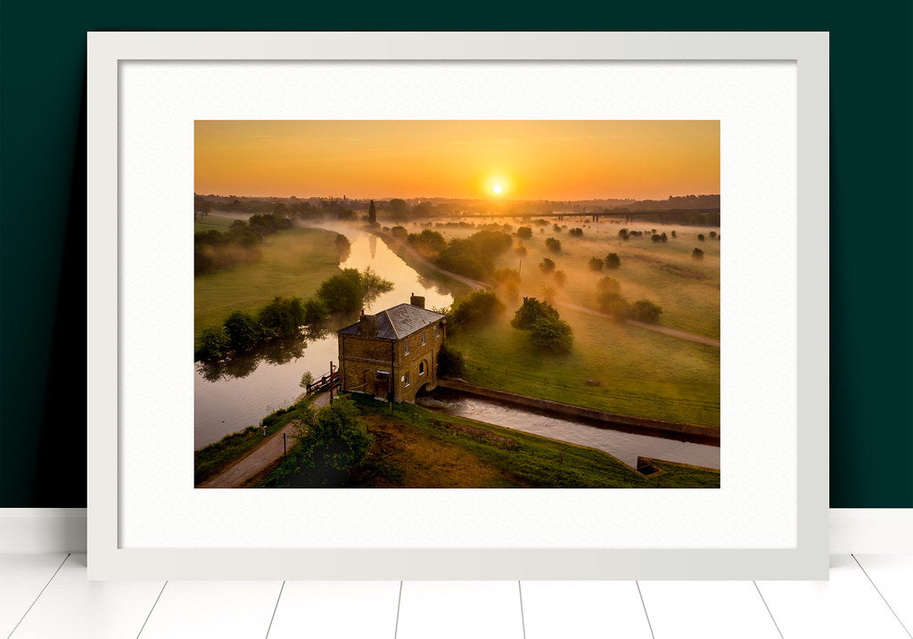 Paul Crowley Gauge House from the air in Hertford Photograph in a white frame