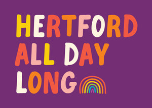 Purple background print with Hertford All Day Long and Rainbow by Hannah Bailey