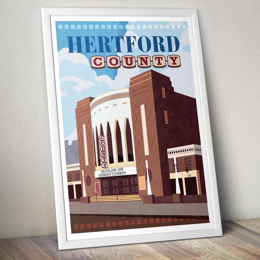 Personalised Hertford County Cinema Print