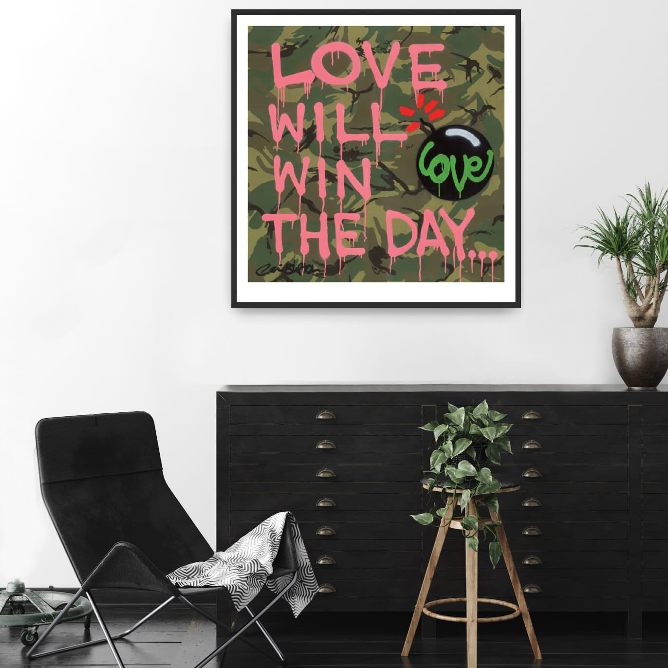 Camo Love Will Win The Day Framed Print