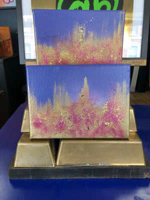 Purple and Gold Glitter Mini Canvases