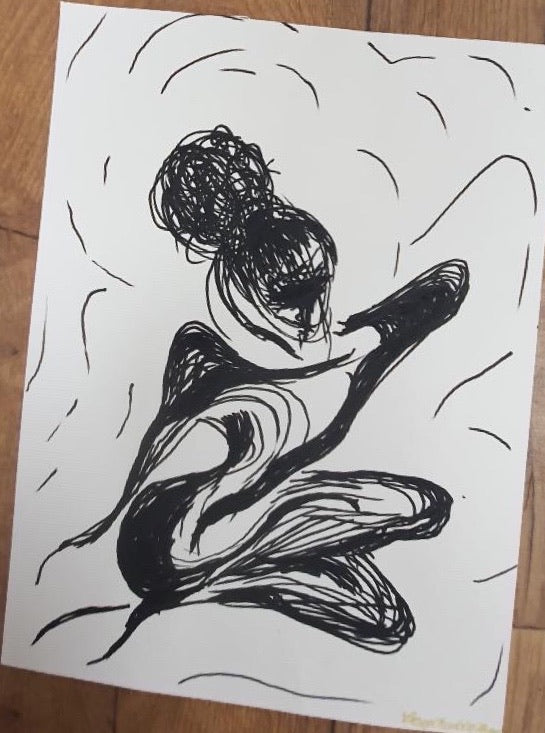 Ink Sketch of Resting Bitch