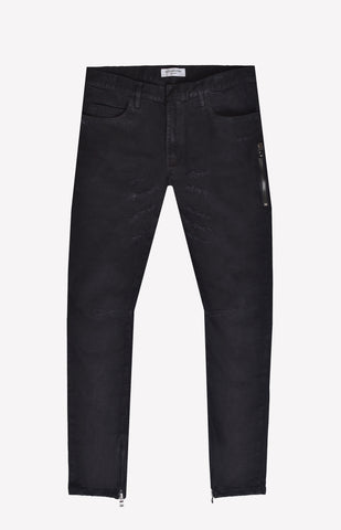 Zipper Denim with Lite Distress
