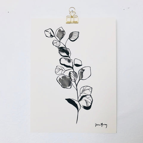 Black and White Eucalyptus Botanical Watercolour Painting