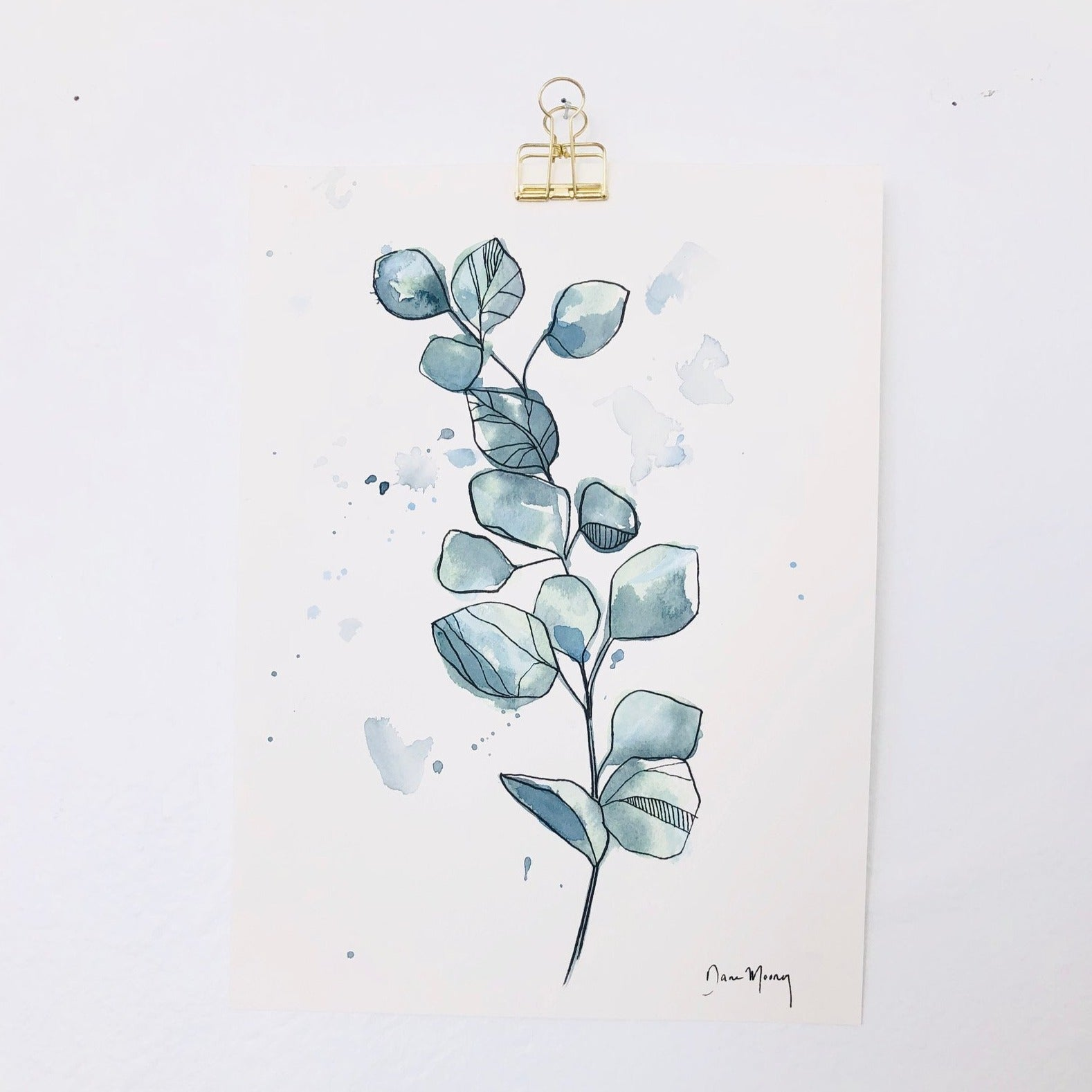 Blue Eucalyptus Botanical Watercolour Painting