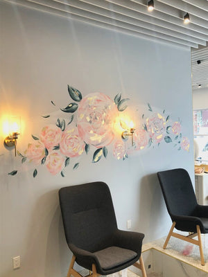 Pink Peony Floral Wrap Around Mural