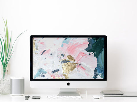 Pop of Peonies Desktop Digital Wallpaper