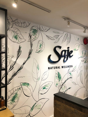 Botanical Line Drawing Wall Mural, Saje Natural Wellness