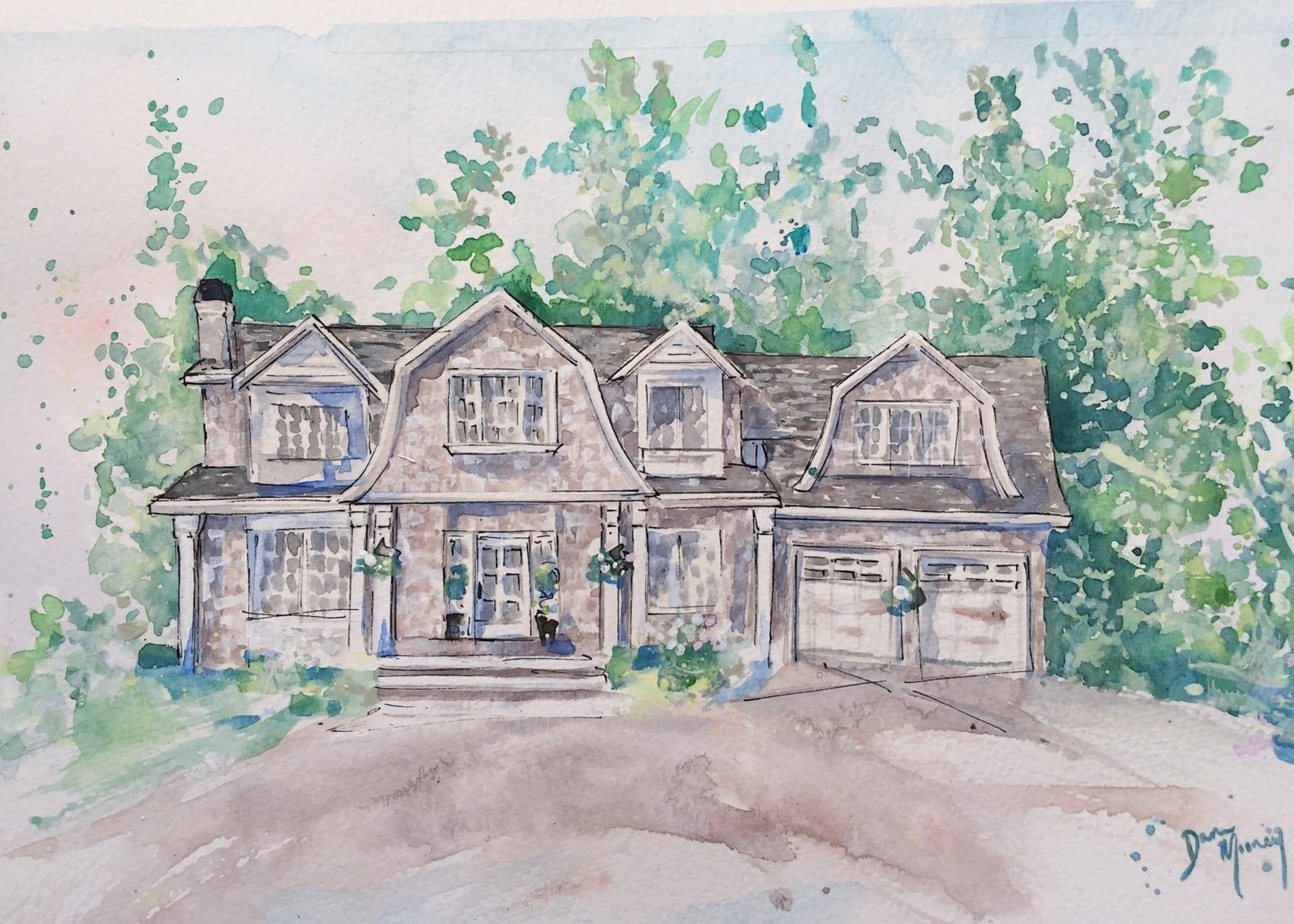 Custom watercolour home painting Monika Hibbs