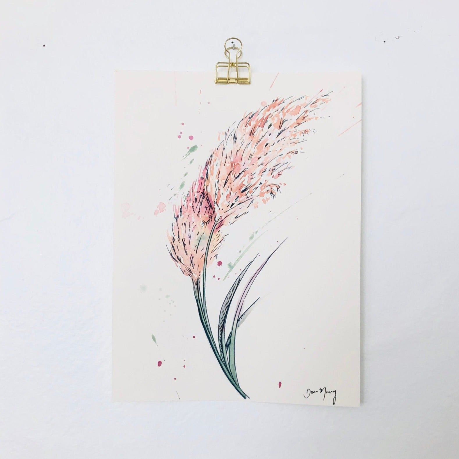 Pampas Grass Eucalyptus Botanical Watercolour Painting