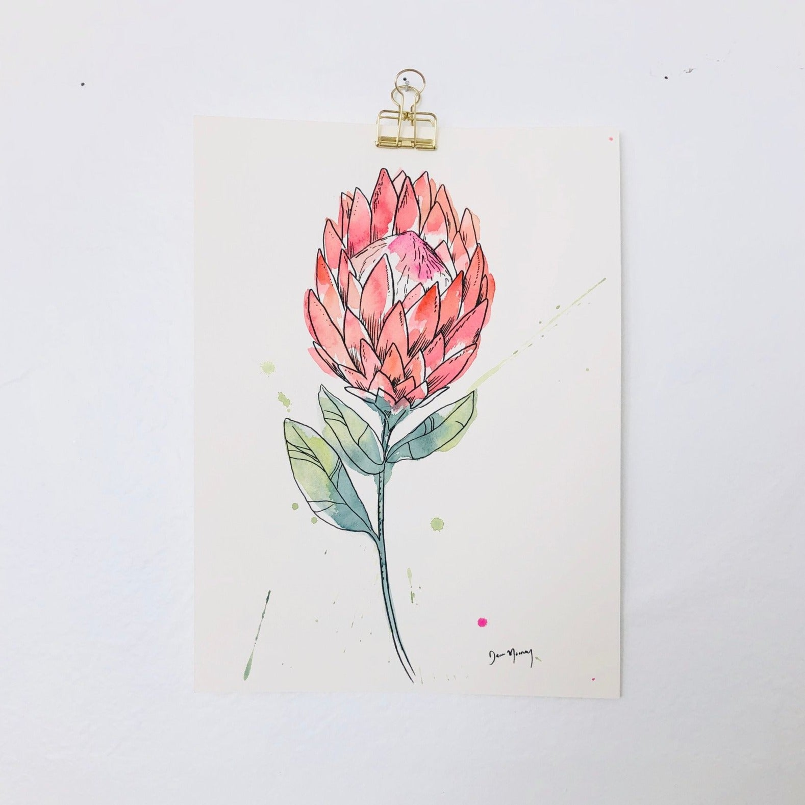 Protea Botanical Watercolour Painting
