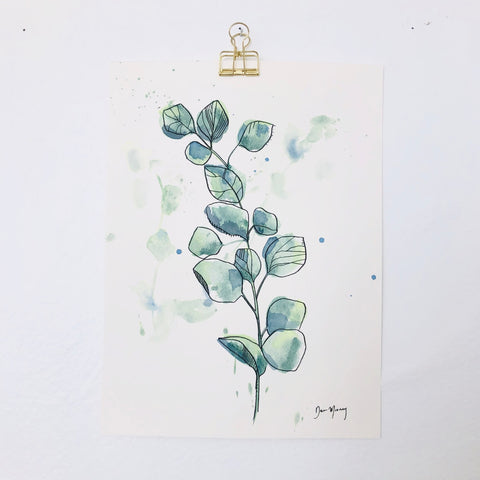 Green Eucalyptus Botanical Watercolour Painting