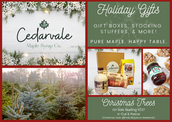 Holiday Gifts and U-Cut Christmas Trees at Cedarvale Maple Syrup Co. (Christmas Trees, Cut your own christmas trees, christmas trees, holiday gifts, gift boxes, local christmas trees)
