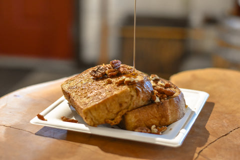 Traditional French Toast Drizzled with Cedarvale Maple Syrup and Pecans