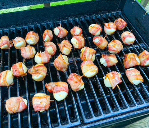 Maple Bacon Wrapped Scallops on the grill.
