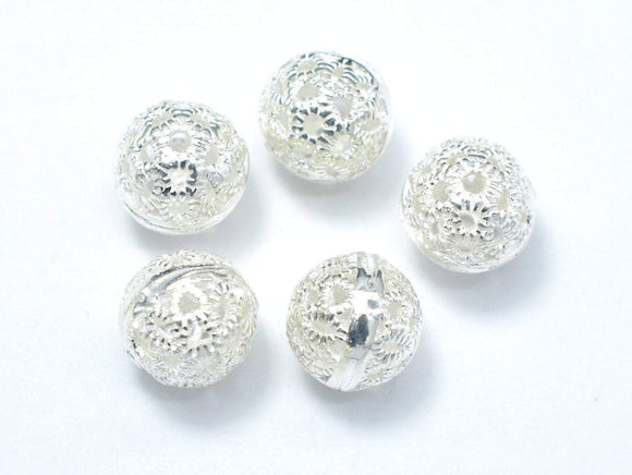 7.8mm 925 Sterling Silver Beads, 7.8mm Round Beads, 4pcs-BeadXpert