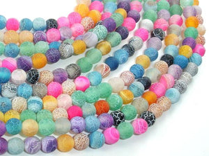 Frosted Matte Agate - Multi Color, 6mm Round Beads-BeadXpert