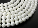 Tridacna Shell Beads, 10mm (10.5mm) Carved Lotus Flower Round Beads-BeadXpert