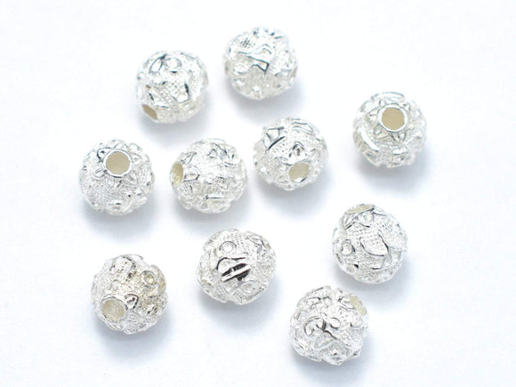 6mm 925 Sterling Silver Beads, 6mm Round Beads, 4pcs