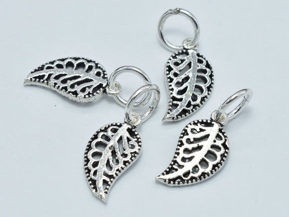 4pcs 925 Sterling Silver Beads-Antique Silver, Leaf Charm