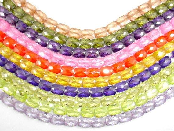 CZ beads, 6 x 8 mm Faceted Rectangle-BeadXpert