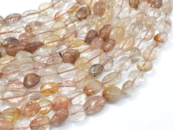 Copper Rutilated Quartz, Approx 6x8mm Nugget Beads, 16 Inch-BeadXpert