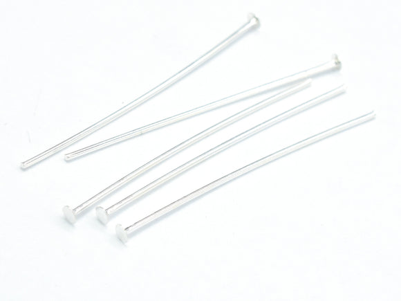 20pcs 925 Sterling Silver Head Pin, 30mm, 0.6mm(23gauge), Head 1.8mm