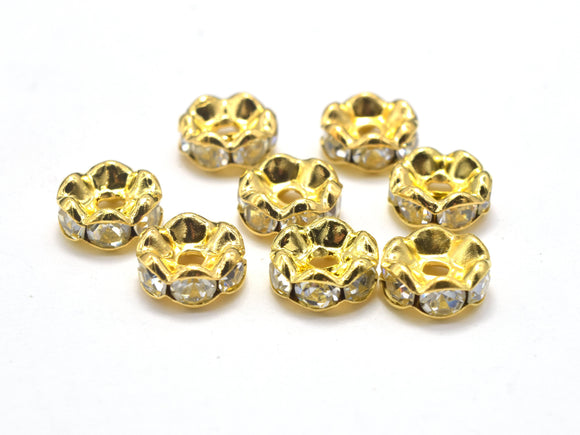 Rhinestone, 8mm, Finding Spacer Round, Clear, Gold plated Brass, 30 pieces