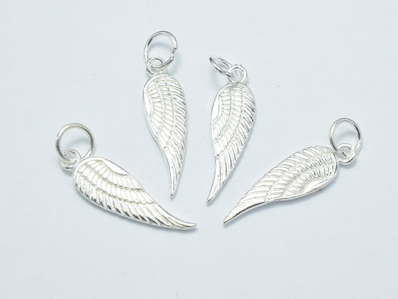 2pcs 925 Sterling Silver Charm, Angel Wing Charm, 6.5x21mm-BeadXpert