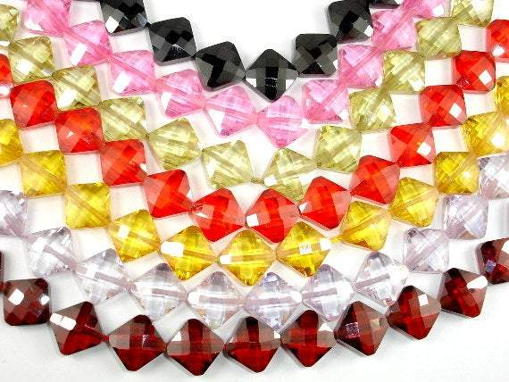 CZ bead, 9 x 9mm Faceted Diamond-BeadXpert