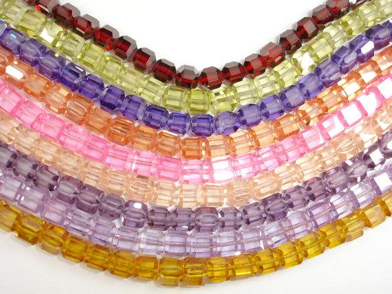 CZ beads, 6 x 6mm Faceted Cube-BeadXpert