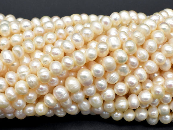 Fresh Water Pearl Beads-White, Approx 5-6mm Potato Beads-BeadXpert