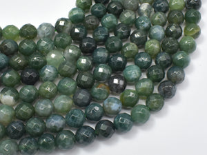 Moss Agate Beads, 8mm, Green, Faceted Round Beads