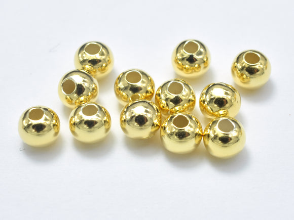 15pcs 24K Gold Vermeil 4mm Round Beads, 925 Sterling Silver Beads-BeadXpert