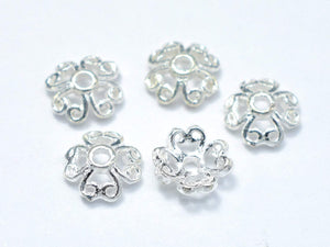 6mm 925 Sterling Silver Bead Caps, 6x2.2mm Flower Bead Caps, 15pcs-BeadXpert