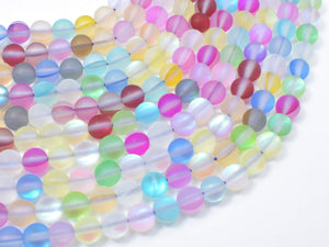 Matte Mystic Aura Quartz-Multi, 6mm (6.5mm) Round Beads
