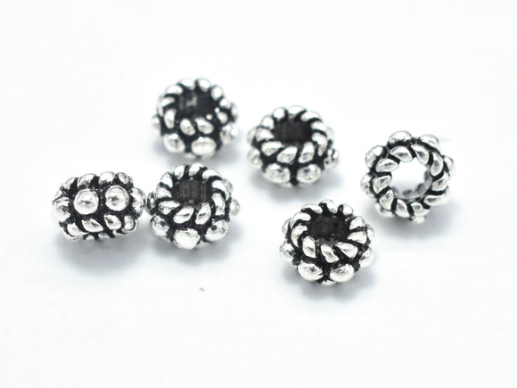 8pcs 925 Sterling Silver Beads-Antique Silver, 5mm Rondelle Beads, Spacer Beads, 5x3mm Hole 2.2mm-BeadXpert