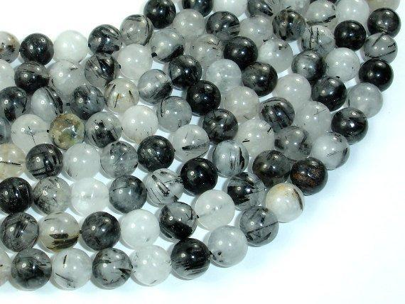 Black Rutilated Quartz Beads, 8mm Round Beads-BeadXpert