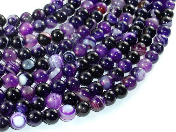 Banded Agate Beads, Purple, 8mm(8.5mm) Round-BeadXpert