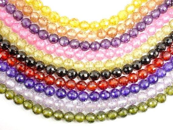 CZ beads, 6 mm Faceted Round-BeadXpert