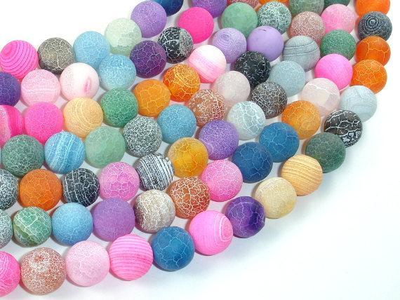 Frosted Matte Agate - Multi Color, 10 mm Round Beads-BeadXpert