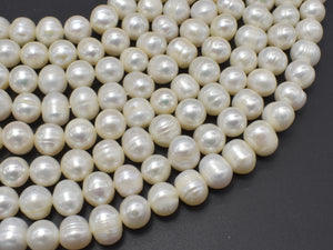 Fresh Water Pearl Beads, White, 9-10mm Potato Beads-BeadXpert